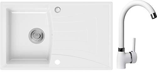 Spülbecken Weiß 77 x 47 cm, Granitspüle + Küchenarmatur + Siphon, Küchenspüle ab 45er Unterschrank in 5 Farben mit Armatur Varianten, Einbauspüle von Primagran