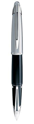 Waterman Edson Diamond Black Fountain Pen PT, 18K Solid Gold Rhodium Plated Fine Nib (S0756470)
