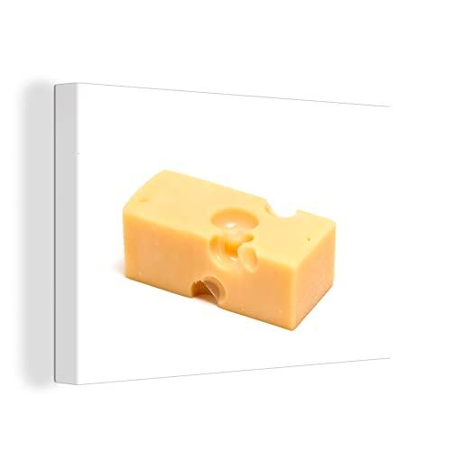 Canvas Schilderijen - Blokje Zwitserse kaas op een witte achtergrond - 150x100 cm - Wanddecoratie - canvas met 2cm dik frame