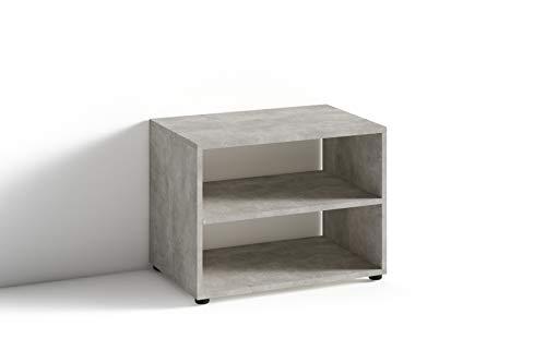 HOMEXPERTS TV Stand VANCOUVER / kleines Regal grau / Beistelltisch 60 cm breit / Wohnzimmertisch / Schrank / TV Bank / TV Tisch / Light Atelier Beton-Optik Grau / 60 x 45 x 39 cm (BxHxT)