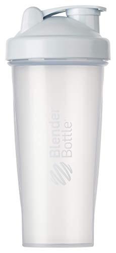 BlenderBottle Classic Botella de agua   Botella mezcladora de batidos de proteínas   con batidor Blenderball   libre de BPA   820ml - Blanco/Transparente