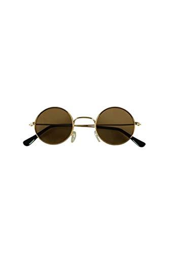 PARTY DISCOUNT Brille Hippie, runde, schwarze Gläser, Metall