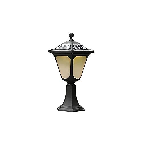 ZHZHUANG Luces de Postes Al Aire Libre Led Solar, Accesorios de Luz Negra de la Linterna de Poste Impermeable, Postes de la Lámpara de Decoración Exterior con Patio de Jardín con Glassfits de Alumini