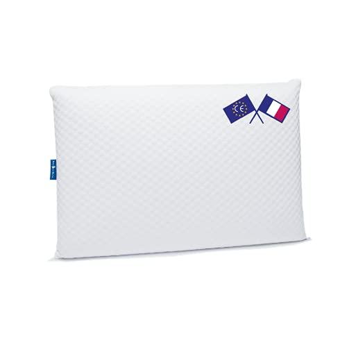 Lazy Bear Home - Marque Française | Oreiller Mémoire de Forme Ergonomique Orthopédique Cervical | Fabriqué en Europe | Certifié Oeko-TEX | 60x40cm (Mi-Ferme)