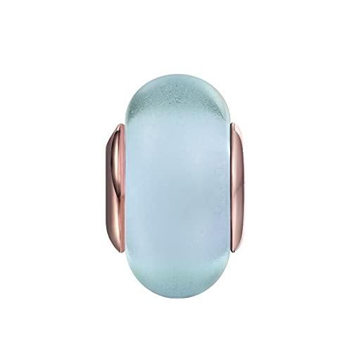 Pandora 925 plata esterlina DIY joyería CharmMatt pulsera azul amuletos de cristal de murano cuentas regalos para joyería de mujer