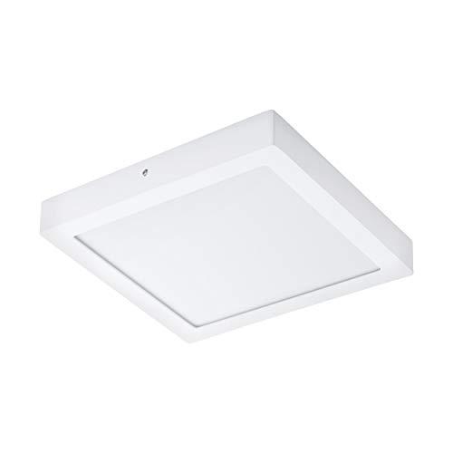 EGLO LED Deckenleuchte Fueva 1, 1 flammige Deckenlampe, Material: Metallguss, Kunststoff, Farbe: Weiß, L: 30x30 cm, warmweiß, IP44