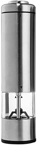 JeeKoudy Molinillo de Sal eléctrico de Acero Inoxidable con Pilas, Molinillo de Sal, Molinillo de Especias Recargable automático con Pilas, Molinillo de Especias