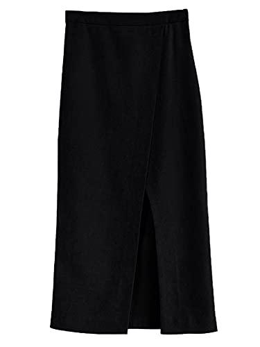 CJWSLYT Falda de ante suave, color negro, cintura alta, con abertura frontal, para mujer, color negro, talla S: