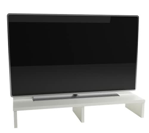 Henor Soporte Madera Monitor Elevador de Pantalla TV 100x26.5x12 Cm Muebles de TV, Elevador Monitor, Soporte Monitor pc, Soporta 70Kg. Blanco
