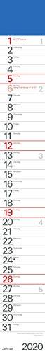 Streifenplaner Blau 2020: Streifenkalender mit Datumsschieber I schmal im Format: 11,4 x 89 cm