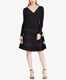 RALPH LAUREN Womens Black Tulle Trim Jersey Long Sleeve V Neck Above The Knee Fit + Flare Cocktail Dress US Size: 12