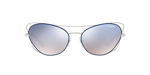 Vogue Women's VO4070S Cateye Sunglasses, Silver/Blue, 57 mm