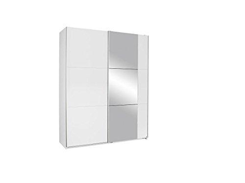 Rauch Möbel Kronach Schrank Schwebetürenschrank, 2-türig, Weiß mit 1 Spiegel, inkl. Zubehörpaket Basic 2 Kleiderstangen 2 Einlegeböden, BxHxT 175x210x59 cm
