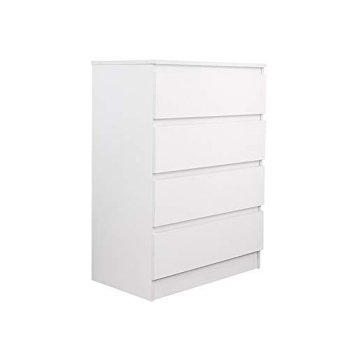 Mondeer Kommode Schlafzimmer Arbeitzimmer Nachtkommde mit 4 Schubladen,70(L) x 40(B) x 96(H) cm (Weiß)