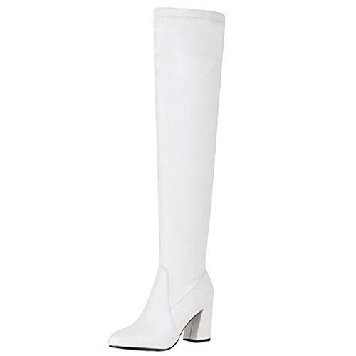 Onewus Damen über Kniehohe Stiefel mit Blockabsatz (Weiß, 45 EU)