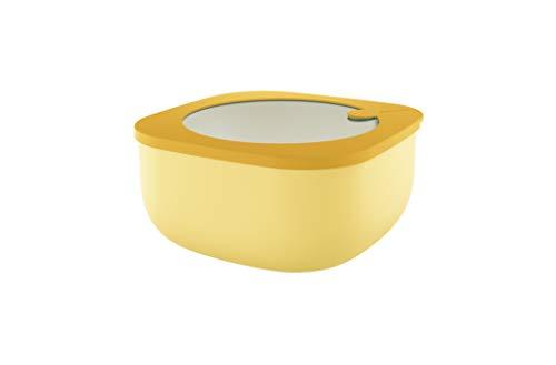 Guzzini Store&More Kitchen Active Design Contenitori Ermetici Bassi per Frigo/Freezer/ Microonde (L), 19.5 x 19.5 x 9.3 cm, Giallo (Ochre)