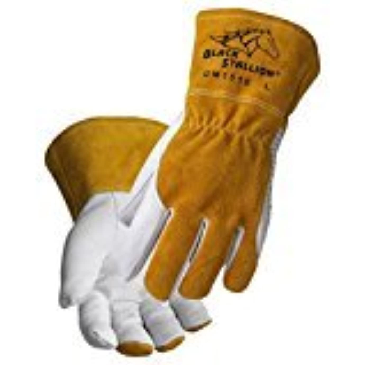 ばかげているがんばり続けるヨーグルトBlack Stallion ブラックスタリオン ゴート グレイン (ヤギ表革) / カウハイド (牛革) コンフォータブル & ハイデキスタリティー MIG溶接用 グローブ (XL)