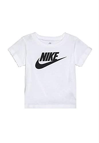 Nike Futura S/S Tee White, niño, camiseta blanca con logotipo negro, blanco, 18 meses