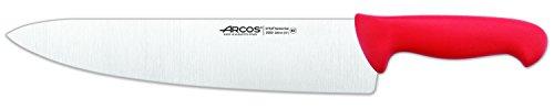Arcos Serie 2900, Cuchillo Cocinero Ancho, Hoja de Acero Inoxidable Nitrum de 300 mm, Mango inyectado en Polipropileno Color Rojo