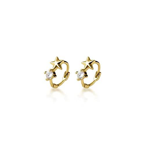 BEWITCHYU Pendientes de Plata con Forma de Estrella Pequeña S925, Pendientes Sencillos de un Solo Diamante para Mujerdorado, 10 mm