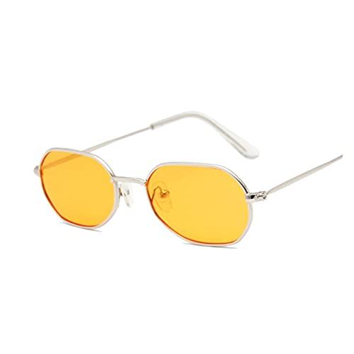ZZDH Gafas de Sol Vintage Pequeño octágono Gafas de Sol Moda Moda Material Marco Regalo para Madres (Lenses Color : SilverOrange)