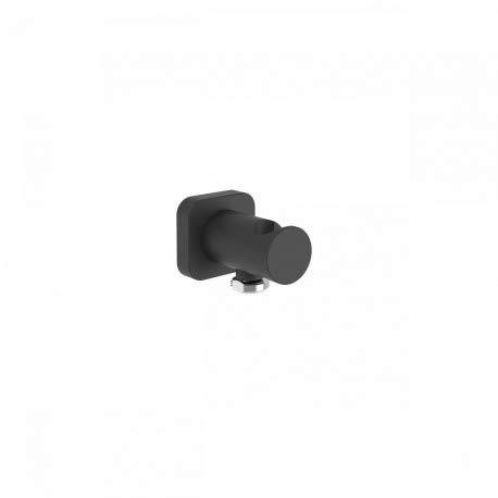 Soporte para ducha con toma de agua a pared y válvula antirretorno, 7,6 x 4,8 x 4,8 centímetros, color negro mate (Referencia: 20018201NM)