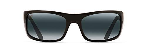 Maui Jim Maui Peahi 202O2glänzende polarisierte Sonnenbrille, für Herren und Damen, schwarz, schwarz, 202-02