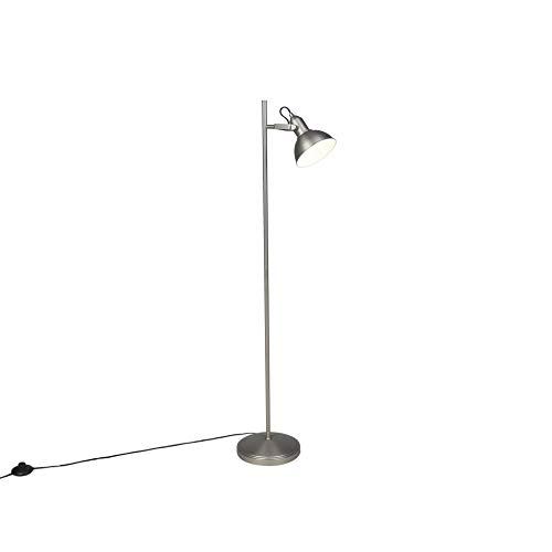 QAZQA Industriële vloerlamp staal 1-lichts - Tommy Staal Langwerpig/Rond Geschikt voor LED Max. 1 x 28 Watt