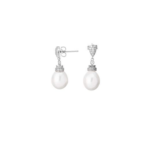 Pendientes de perlas hazzitter 925 perlas blancas plateadas de agua dulce y circón para mujeres