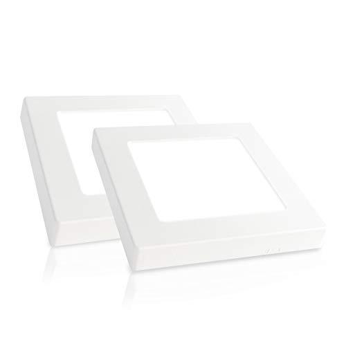Xtend PLd2.0 Lot de 2 plafonniers à LED carrés Blanc froid 6000 K 6,5 W seulement 15 mm de haut bloc d'alimentation intégré ou montage en saillie Blanc froid 120 x 120 mm