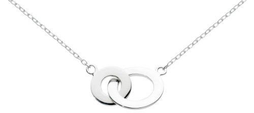 Dew Womens Linking Circles Sterling Silver Necklace of 18 inch