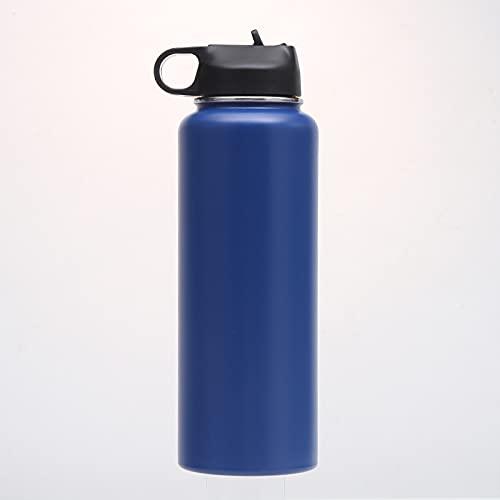 Xiaobing Rocíe Colorida Taza de Acero Inoxidable 32 oz Botella de Agua para Deportes al Aire Libre de Gran Capacidad - azul-40 oz