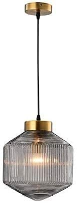 Lámpara de araña nórdica Dispositivo de iluminación Tambor Ámbar Latón Acanalado Vidrio 1 luz Lámpara colgante de techo Lámpara LED para café Restaurante Sala de estar Dormitorio Comedor,Hotel-ámbar