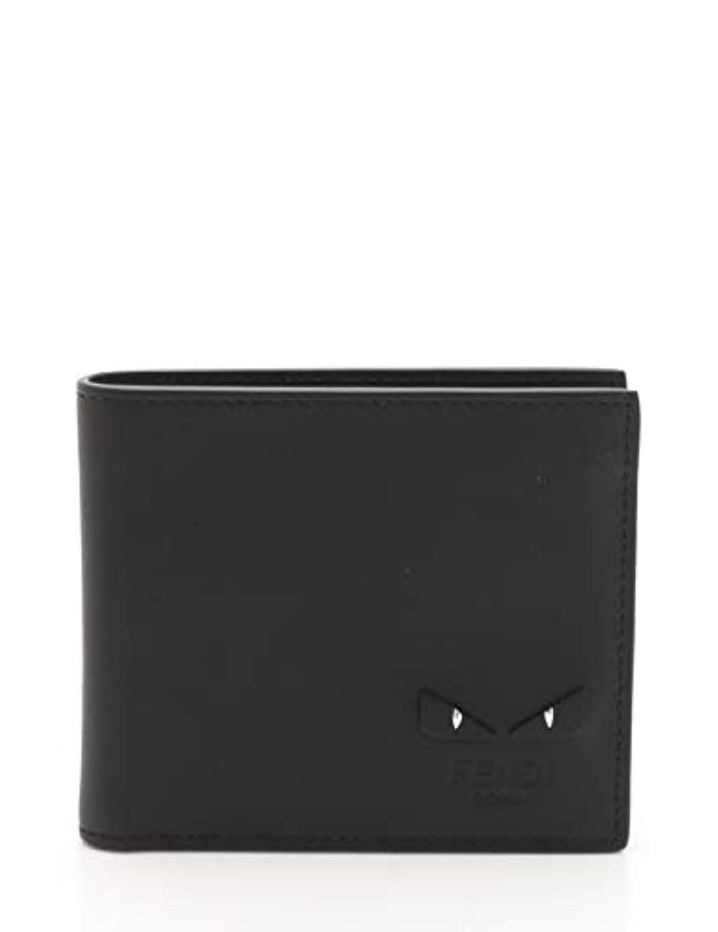 東ボードエクステント(フェンディ) FENDI バックバグズ モンスター 二つ折り財布 レザー 黒 2018AW 7M0169 中古