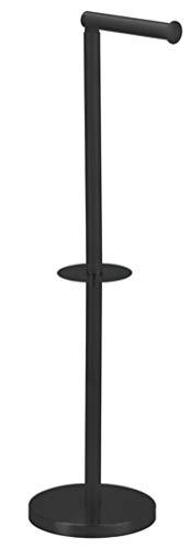 MSV Toilettenpapierhalter Stehend BxHxT:15x60x15 cm freistehender Papierrollenhalter in Edelstahl-Optik Edler Rollenhalter für WC-Rollen als Ersatzrollenhalter Schwarz matt