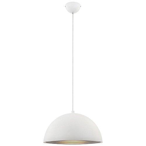 Pendel plafondlamp rond wit mat restaurant café verlichting zilveren sokkel 1xE27 Globo 15122