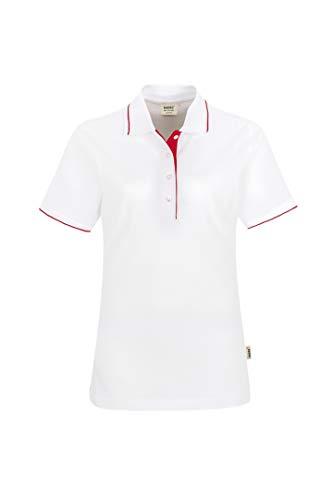 HAKRO Damen Polo-Shirt Casual - 203 - weiß/rot - Größe: 3XL