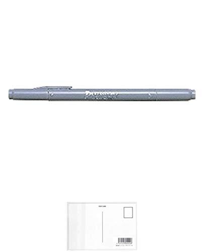 トンボ鉛筆 水性サインペン プレイカラー2 灰色 WS-TP 49 2個セット + 画材屋ドットコム ポストカードA