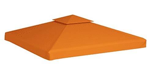 Cubierta para cenador de jardín, impermeable, 2 niveles, impermeable, resistente al sol, cubierta superior de PVC, 310 g/m², 3 x 3 m, terracota