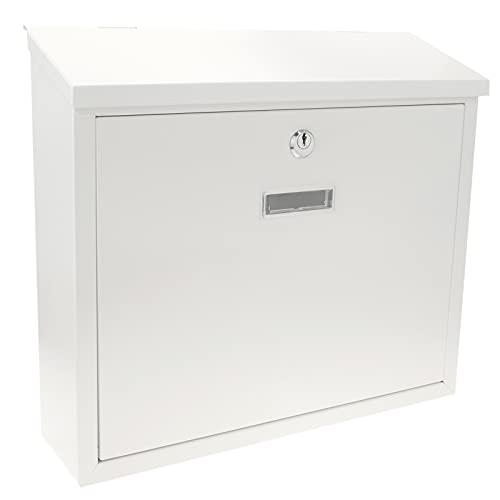 PrimeMatik - Boîte aux Lettres métallique coloré Blanc pour Mur 350x90x320 mm