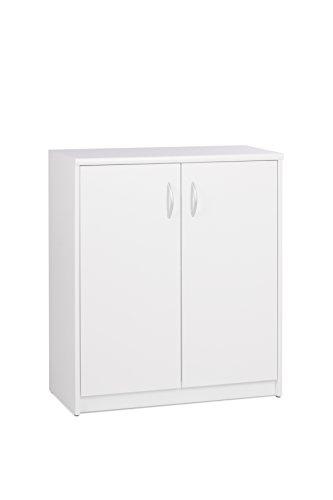 Kommode 2-türig (B/H/T: ca.: 74 x 85 x 35 cm) Topplatte 22 mm gesoftet, (Melaminharzbeschichtet - kratzfest & wasserabweisend) weiß