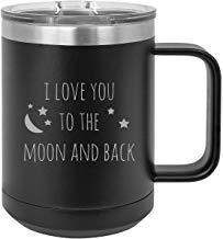 Queen54ferna Taza de café con tapa deslizante de acero inoxidable con aislamiento al vacío, 15 onzas, con inscripción 'I love you to the Moon and Back', color negro