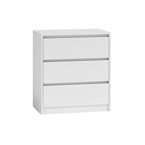 ADGO Karo - Cassettiera con 3 cassetti, per vestiti, soggiorno, armadio, camera da letto, cameretta dei bambini, autoportante, salvaspazio (K3, bianco)