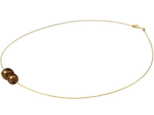 Gemshine Damenhalskette mit Barock Zuchtperle in 925 Silber oder hochwertig vergoldet - Tahiti Golden Champagne. Nachhaltiger, qualitätsvoller Schmuck Made in Germany, Metall Farbe:Silber vergoldet