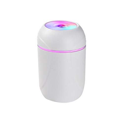 KKmoon Luftbefeuchter 260 ML USB Mini Air Humidifier Buntes Nachtlicht Desktop Tragbares Aroma Diffuser mit ätherischen Ölen Nebelmacher für Auto Home Office Schlafzimmer Weiß