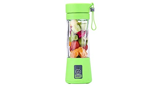 Portable Blender, Mini Personal Blender Chopper 380ML, Small Fruit Mixer, USB Rechargeable 1400mAh, Green Shakes Smoothies Maker for Home Office Travel, Juicer Cup Bottle with Lid, Six Blades in 3D