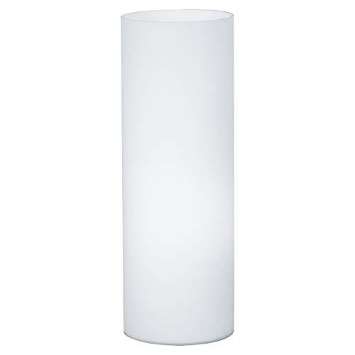 EGLO Tischlampe Geo, 1 flammige Tischleuchte, Nachttischlampe aus Glas, Farbe: Weiß, Glas: Opas-matt, Fassung: E27, inkl. Schalter