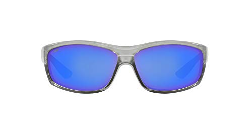Costa Del Mar Men's Saltbreak Rectangular Sunglasses, Silver/Grey Blue Mirrored Polarized-580P, 65 mm
