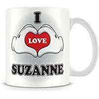 Tasse à café en céramique personnalisée I Love Suzanne - Blanc - 11 oz