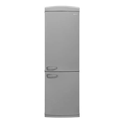 Sharp SJ-RA10RMXS3-EU Retro-Kühl-Gefrier-Kombination (Gefrierteil unten) / A+++ / Höhe 190.1 cm / 175 kWh/Jahr / OptiFresh-Gemüseschubfach mit Feuchtigkeitsregulierung / Silber